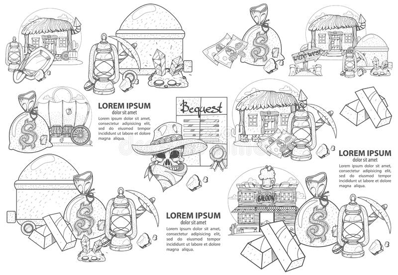 Set of illustrations on the theme of Goldfield. Wild West stock illustration