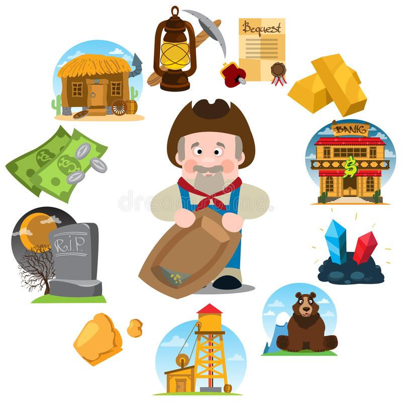 Set of illustrations on the theme of Goldfield. Wild West. Prospector vector illustration