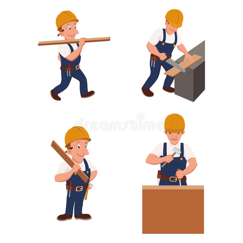 A set of 4 illustrations of workers at the construction site. royalty free illustration