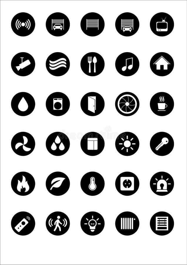 Set 30 ilości ikon o mądrze domowej automatyzaci technologii kształtach dom, z płaskim projektem obrazy stock