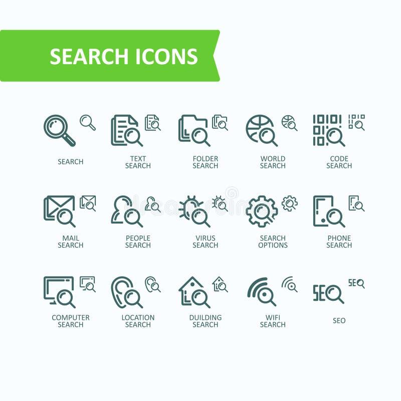 Set ilustraci cienkiej linii ikony analiza, rewizja informacja Piksel Perfect ilustracji