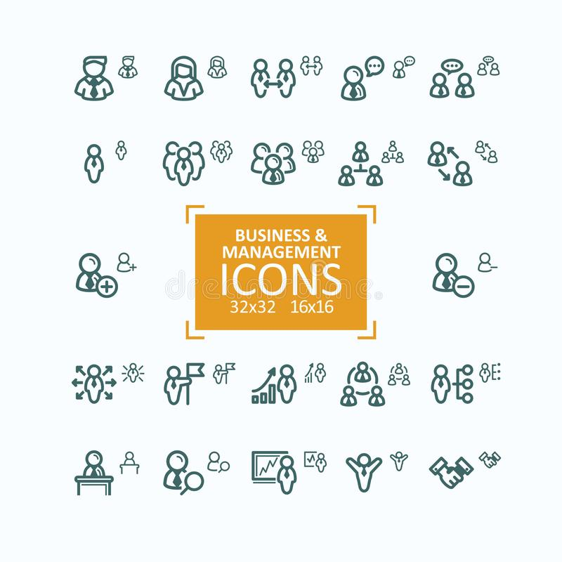 Set ilustraci cienkiej linii ikony, kolekcja ludzie biznesu ikon, kadrowy zarządzanie royalty ilustracja