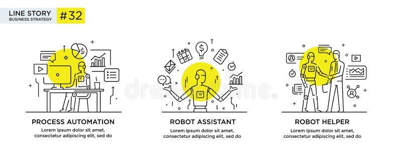 Set ilustraci poj?cie z biznesmenami technologia, partnerstwo, zwi?zek, biznesowy robot, cybes liniowy royalty ilustracja