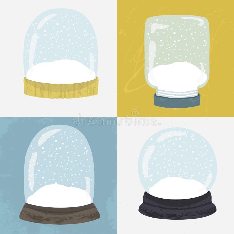 Set 4 ilustraci z ręka rysującą śnieżną kulą ziemską ilustracja wektor