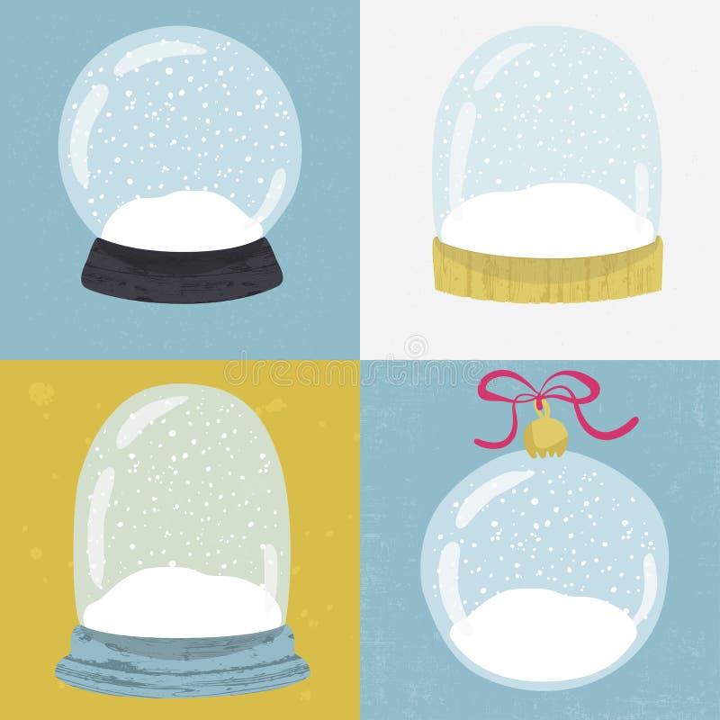 Set 4 ilustraci z ręka rysującą śnieżną kulą ziemską ilustracji