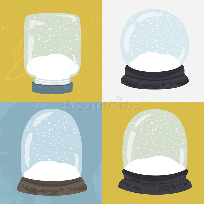 Set 4 ilustraci z ręka rysującą śnieżną kulą ziemską royalty ilustracja