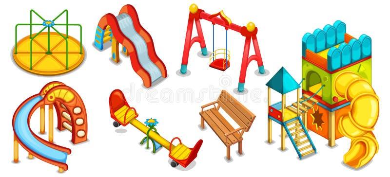 Set ilustracje boisko Wyposażenie dla bawić się royalty ilustracja