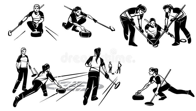 Set ilustracje kobiety ` s fryzowanie szczotkarski węgiel drzewny rysunek rysujący ręki ilustracyjny ilustrator jak spojrzenie ro ilustracji