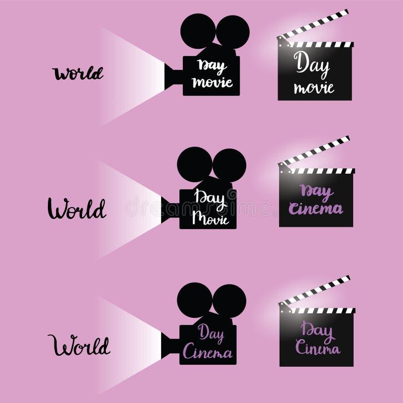 Set ilustracyjnej sylwetki kinowa kamera z kaligrafia teksta gratulacje światowy Kinowy dzień Grudzień 28 zdjęcia royalty free