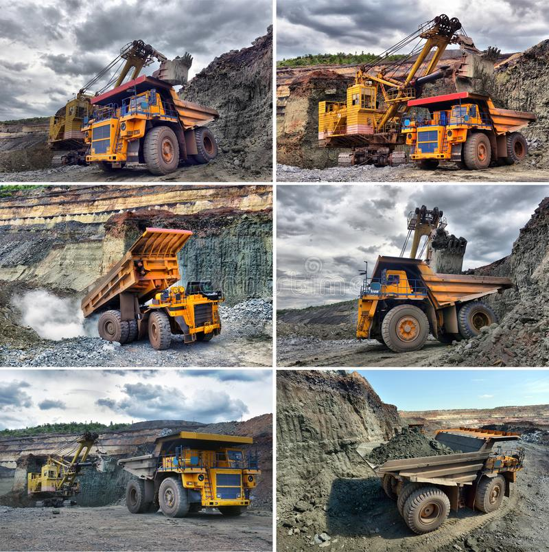 Set image Large quarry dump truck. Loading the rock in the dumper. Loading coal into body work truck. Large quarry dump truck. Loading the rock in the dumper stock photography