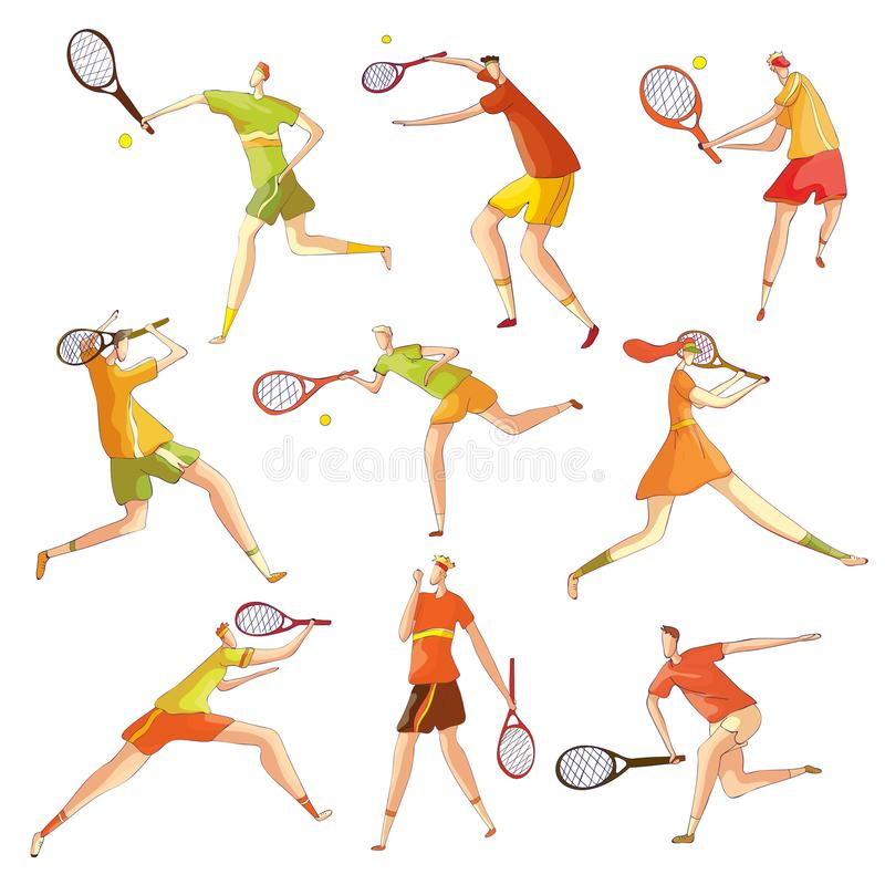 Set of images of abstract tennis players. Vector illustration on white background. stock illustration