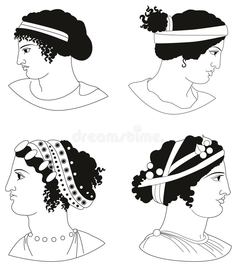 Set of images of ancient Greek women heads royalty free stock photo
