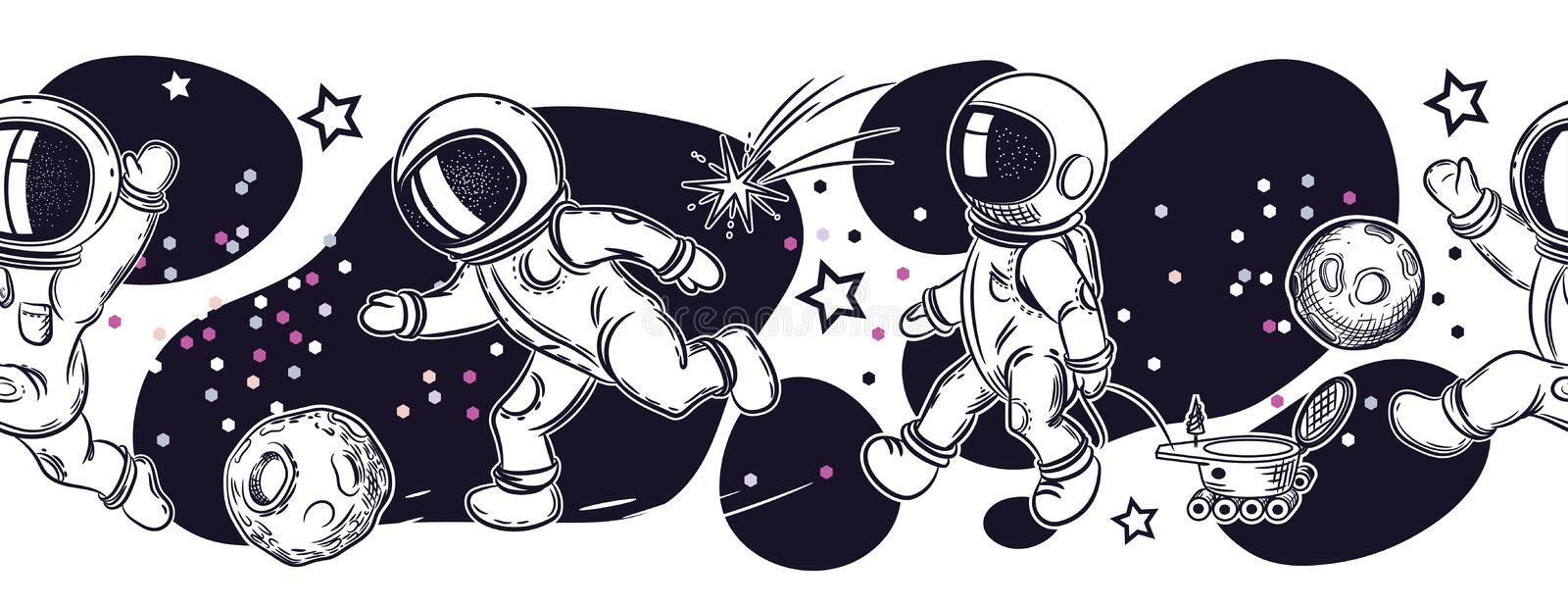 Set of images of astronauts. Astronauts are playing football, fishing, flying in a balloon. royalty free illustration