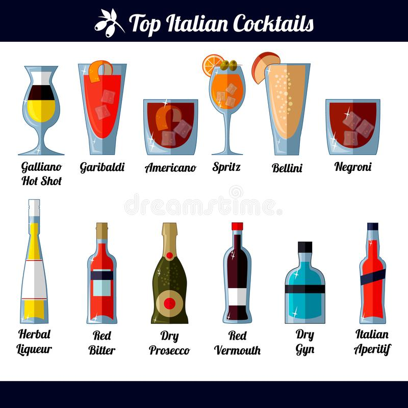 Italian cocktails and ingredients. Isolated objects on white background. Set of images of the best Italian cocktails and their ingredients. Galliano Hot Shot royalty free illustration