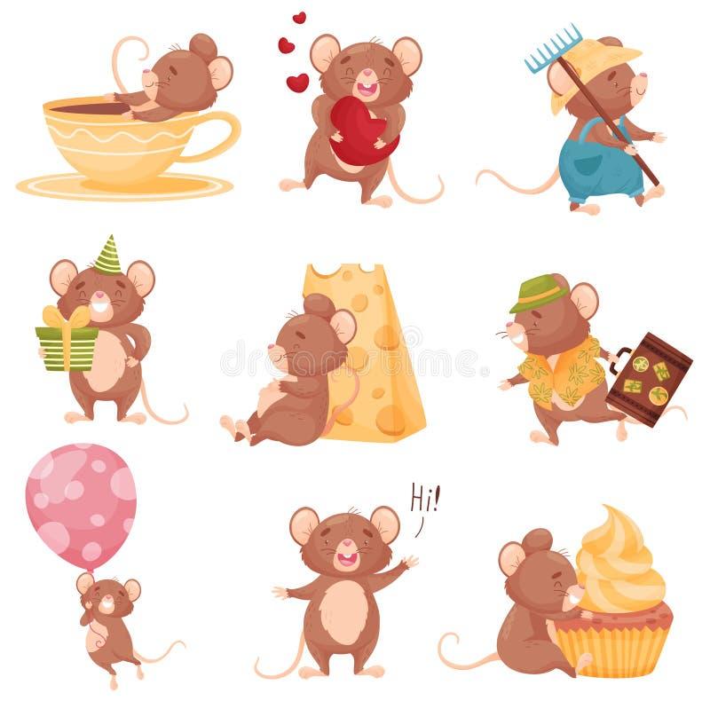 Set of images of cartoon mice. Vector illustration on white background. stock illustration