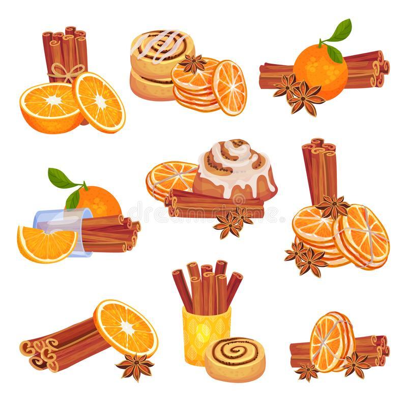 Set of images of cinnamon, oranges and buns. Vector illustration on white background. vector illustration