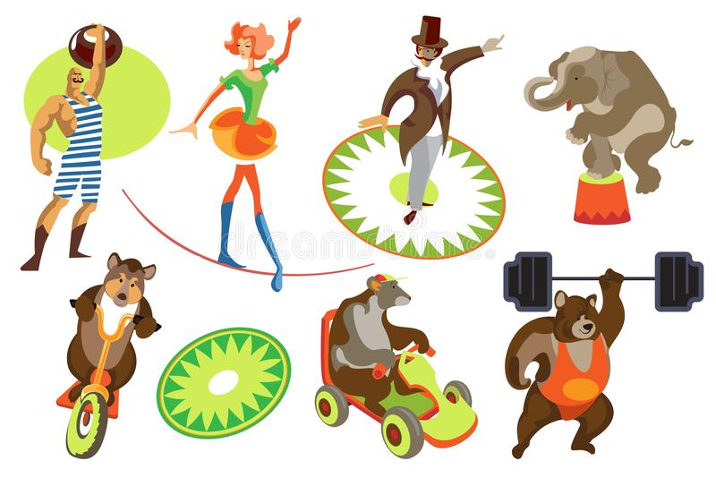 Set circus. Set of images circus actors and trained animals vector illustration
