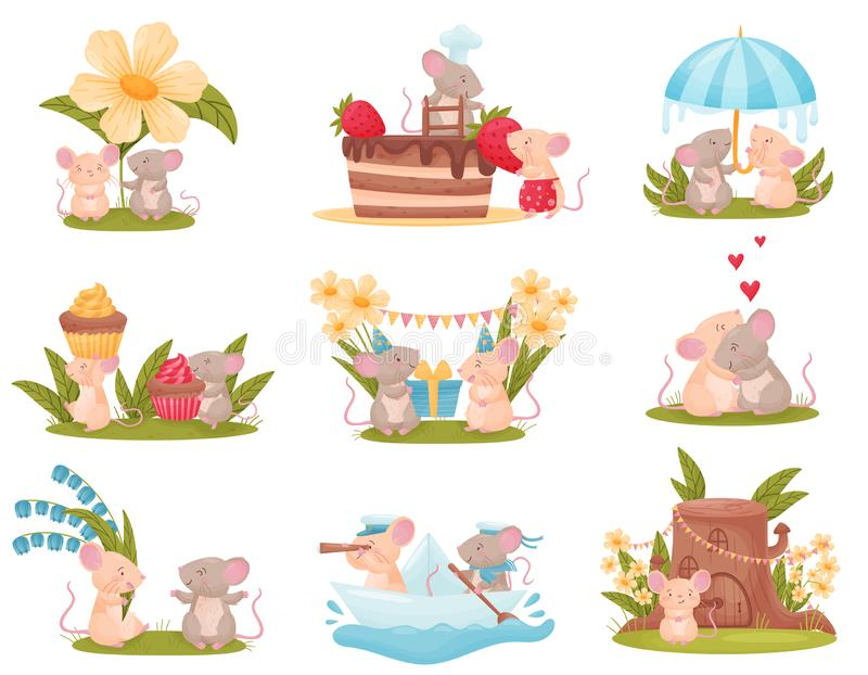 Set of images of cute humanized mice. Vector illustration on white background. vector illustration