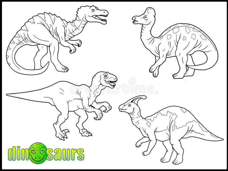 Set of images of dinosaurs. Set of vector images of dinosaurs stock illustration