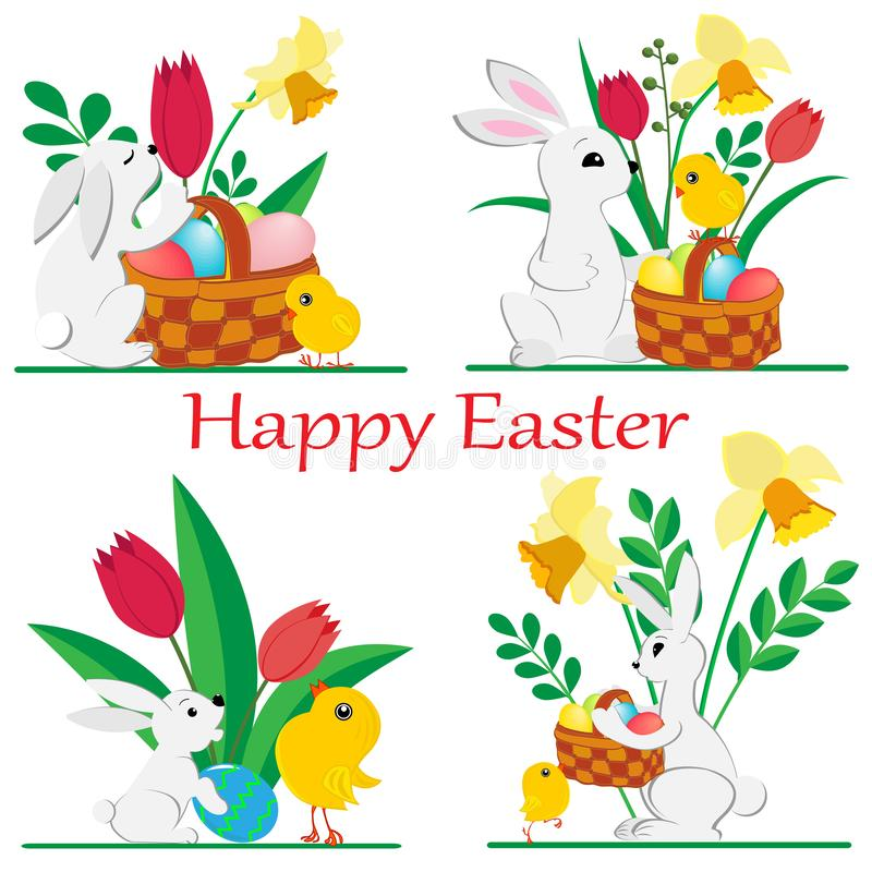 Set of images of Easter rabbits and chickens with spring daffodils and tulips and painted eggs in a basket on white background vector illustration