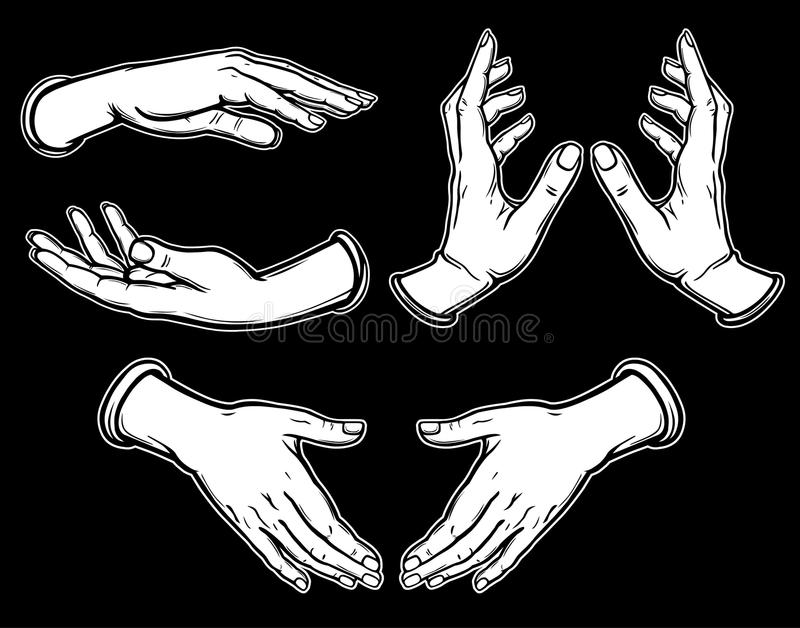 Set of images of human hands in different poses. Gesture of support, protection, care. Black line, white inking, white filling. Vector illustration isolated on stock illustration