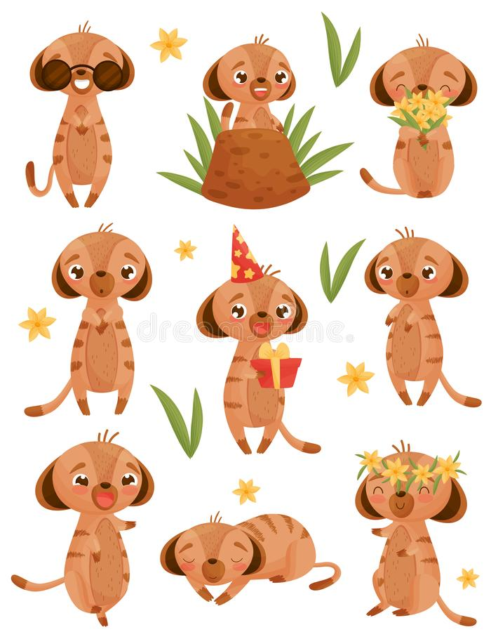 Set of images of gophers in cartoon style. Vector illustration on white background. royalty free illustration