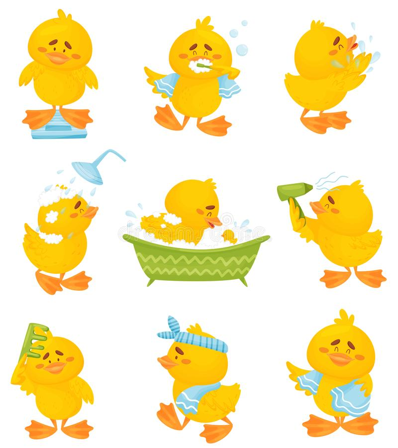 Set of images of a humanized duckling. Vector illustration on a white background. stock illustration
