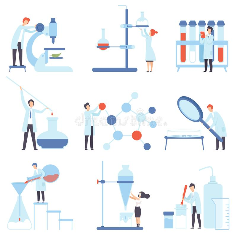 Set of images of laboratory devices. Vector illustration. Set of images of laboratory devices and scientists at work. Vector illustration stock illustration