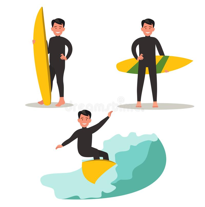 A set of images of a male surfer. Posing with a surfboard, riding the waves. Vector illustration flat design stock illustration