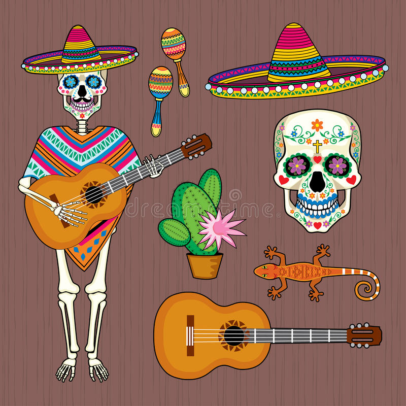 Set of images of Mexican culture with skull Calavera. Vector set of images of Mexican culture: skull Calaveral , skeleton, guitar, maracas and sombrero vector illustration