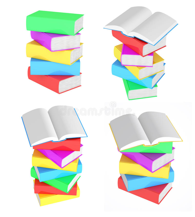 Set images of stacks of multicolored books stock illustration