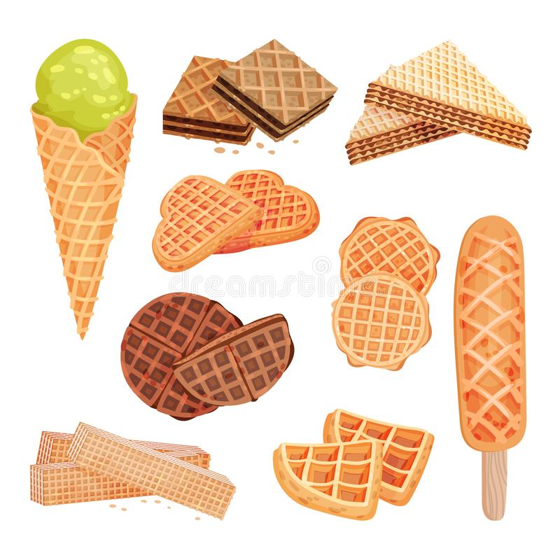 Set of images of sweets from waffles. Ice cream, biscuits, straw. Vector illustration on white background. royalty free illustration