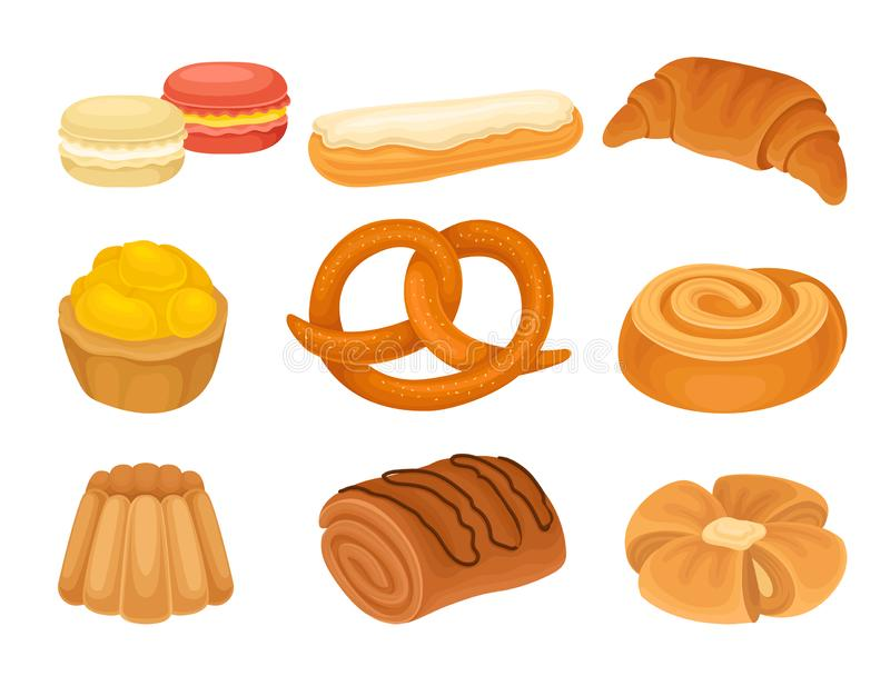Set of images of various bakery products. Vector illustration on white background. royalty free illustration