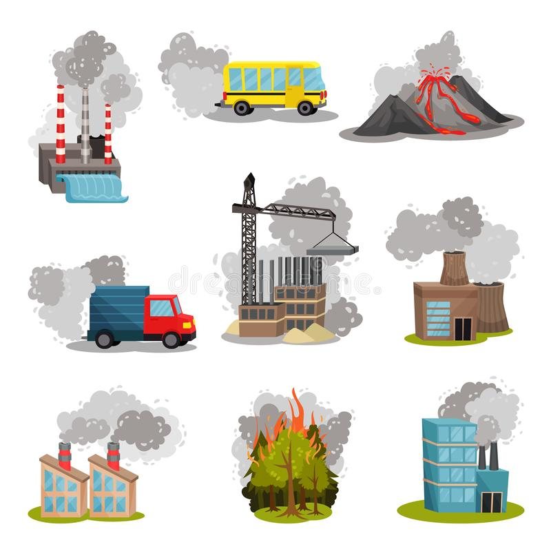 Set of images of air pollution sources. Vector illustration. vector illustration