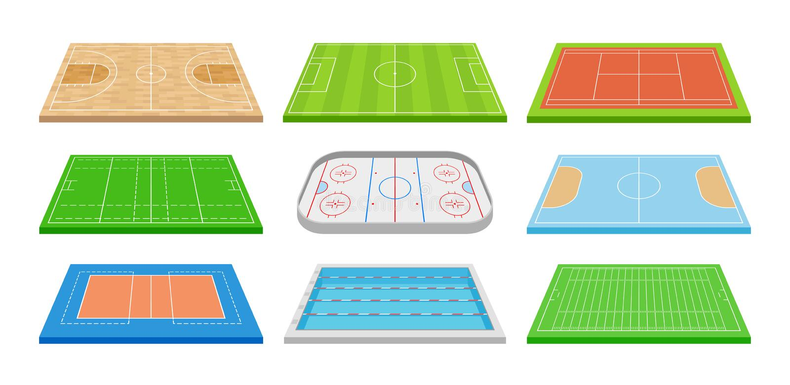 Set of images of various sports fields. Vector illustration on white background. royalty free illustration