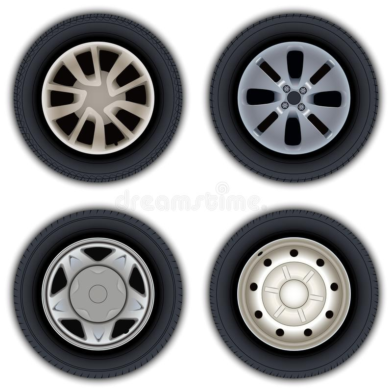 A set of images of wheels and tires of cars. stock images