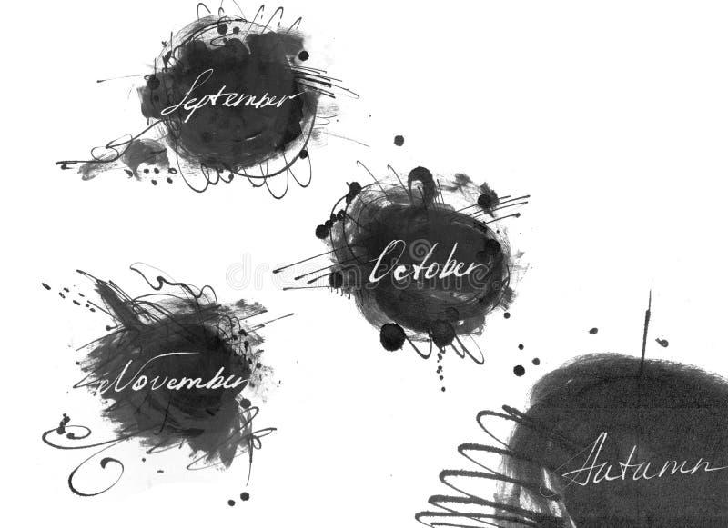 Set imiona jesień miesiąc: wrzesień, Październik, Listopad, rysujący ręką z ciekłym atramentu barwidłem w freehand stylu, Wielka  ilustracja wektor