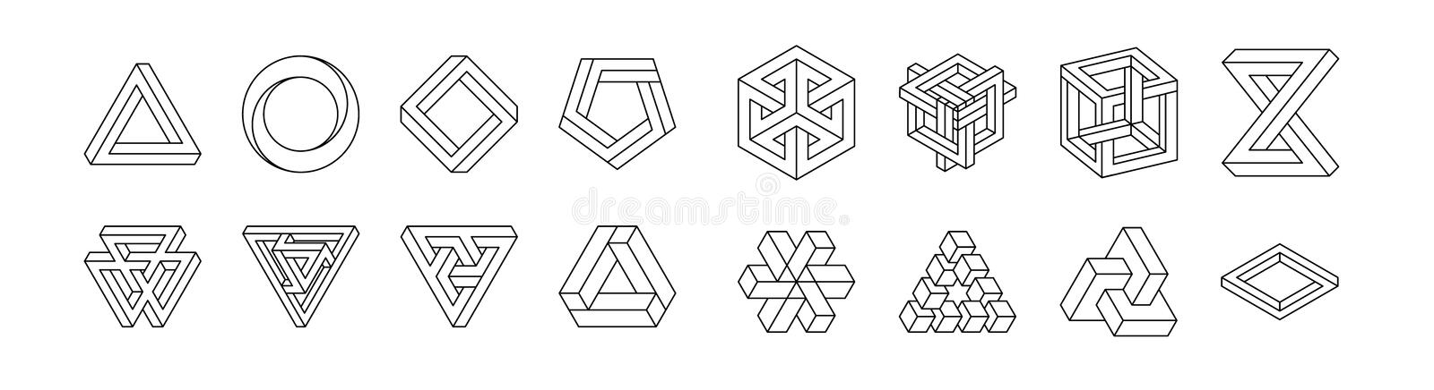 Set of impossible shapes. Optical Illusion. Vector Illustration isolated on white. Sacred geometry. Black lines on a. White background stock illustration