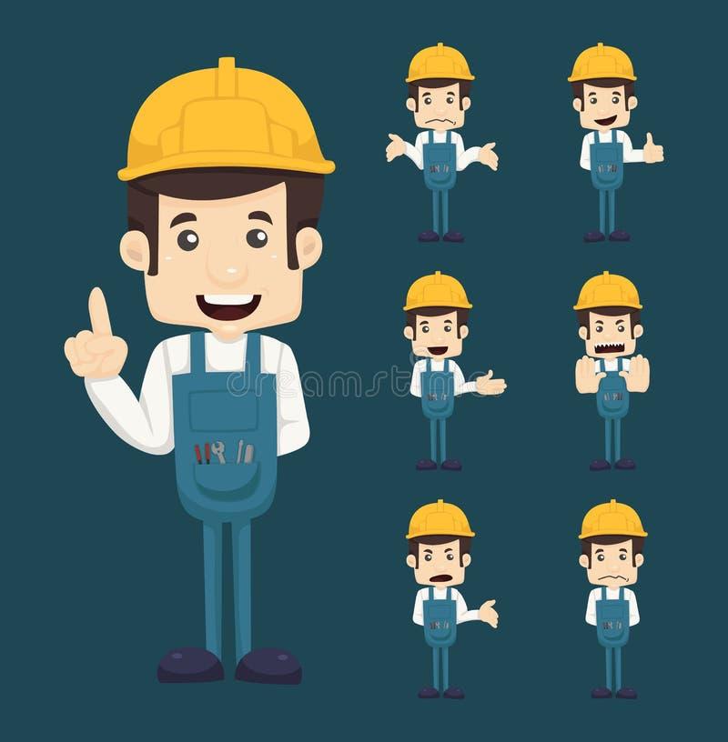 Set inżynierów charakterów pozy ilustracja wektor