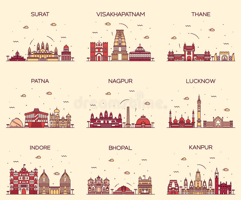 Set Indian cities vector illustration linear. Set of Indian cities skylines Surat Visakhapatnam Thane Patna Nagpur Lucknow Indore Bhopal Kanpur Trendy vector royalty free illustration