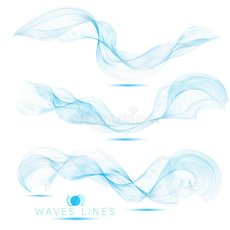 Set individual beautiful blend massive waves abstract background stock illustration