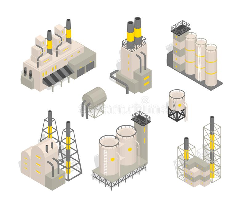 Set industrial factories plant building Isometry vector illustration. Industrial production factory. royalty free illustration