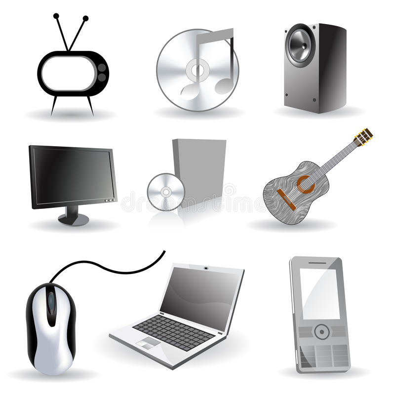 Set of industrial/ technology icons stock images