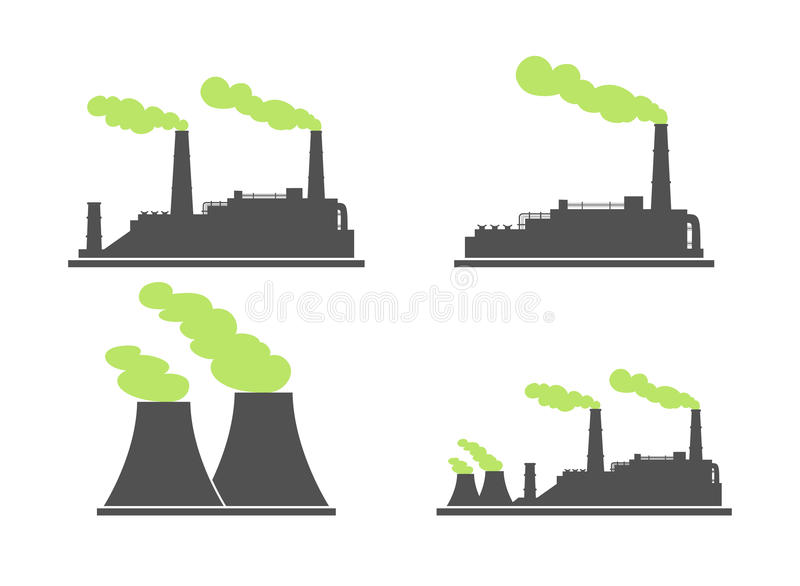 Set of industry factory building icons. Plant and factory, power. And smoke, oil and energy. Vector illustration of eco factory with green smoke vector illustration
