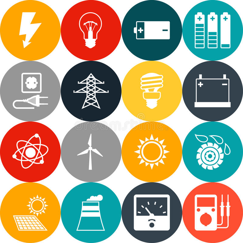 Download Set Of Industry Power Icons In Flat Design Style Stock Image - Image of industry, atom: 51227341