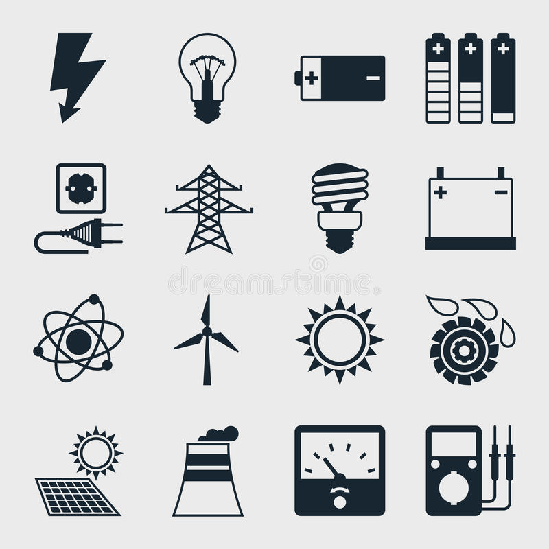 Download Set Of Industry Power Icons In Flat Design Style Stock Photo - Image of line, atom: 51227422