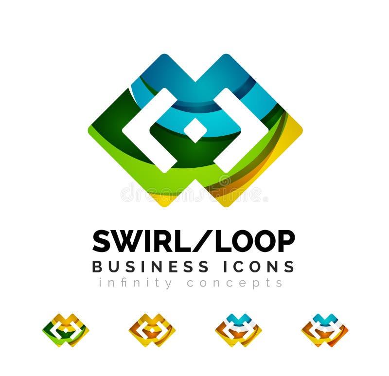 Set of infinity concepts, loop logo designs stock illustration