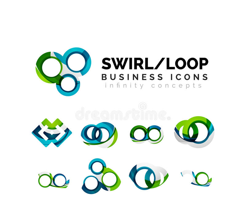 Set of infinity concepts, loop logo designs vector illustration