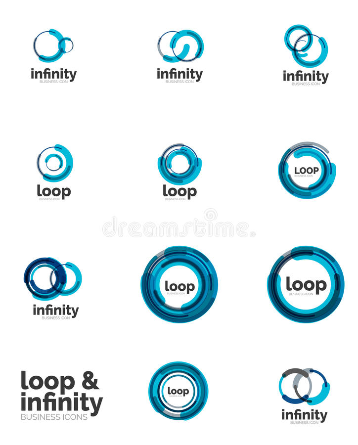 Set of infinity and loop business logos stock illustration