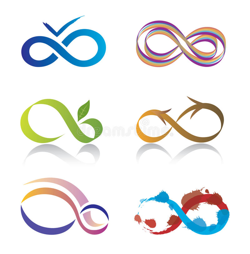 Set of Infinity Symbol Icons. Set of six Icons representing the Infinity Symbol in a variety of Shapes and Colors vector illustration